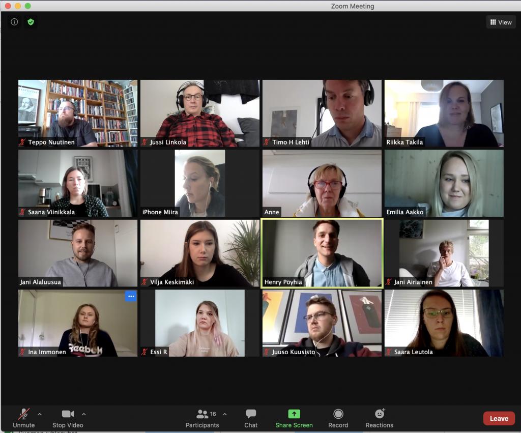 Zoom-etäkokous, jossa paikalla 16 osallistujaa.