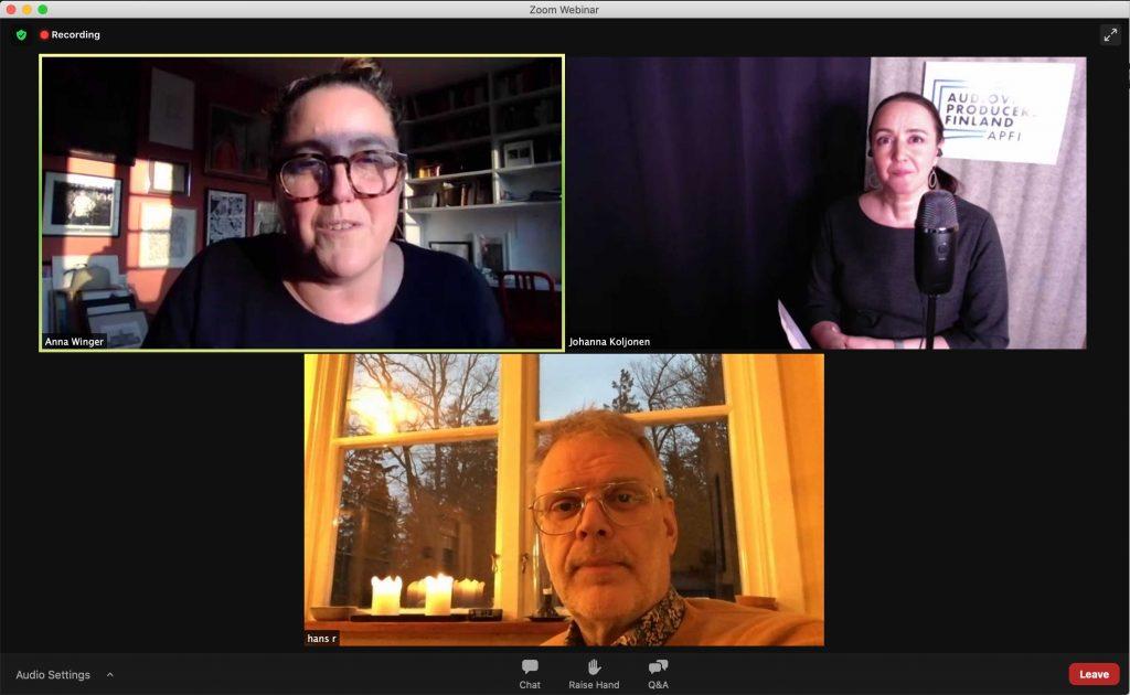Anna Winger, Johanna Koljonen ja Hans Rosenfeldt Zoom-haastattelussa.
